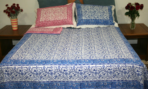 Reversible Duvet Cover Rajasthan Floral Design Full Queen Gorgeous Blue Pink - Sweet Us