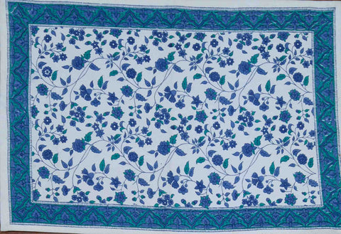 Handmade 100% Cotton Fleur De Lis Placemat Table Linen Rectangular Blue - Sweet Us