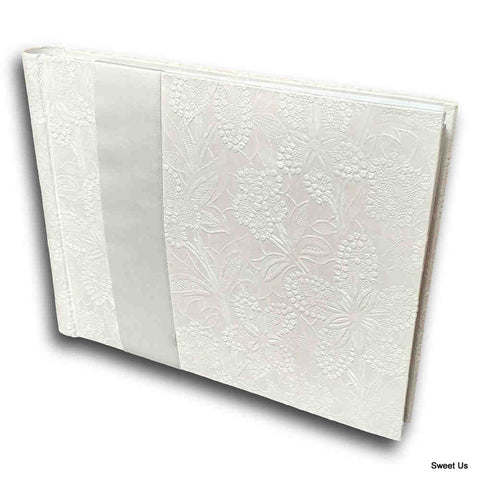 Handcrafted Recycled Paper Floral Book, Journal, Wedding Book, Photo Album White