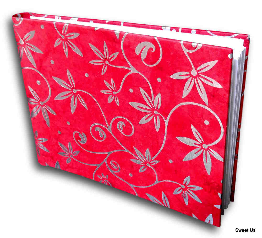 Handcrafted Recycled Paper Floral Book, Journal, Wedding Book, Photo Album Red