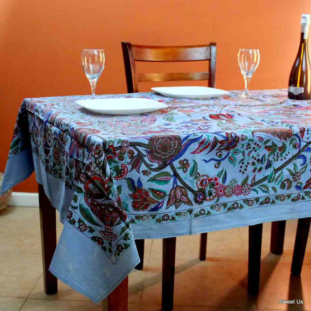 Cotton Floral Tree of Life Tablecloth Rectangle Blue Red Kitchen Dining Linen