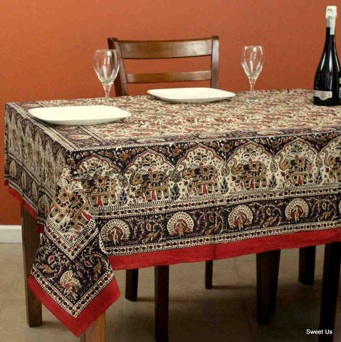 Hand Block Print Paisley Elephant Floral Tablecloth Rectangle Cotton Red Black