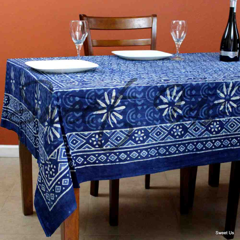 Cotton Hand Block Print Tablecloth Rectangle Tapestry Bed sheet Queen Indigo Blue