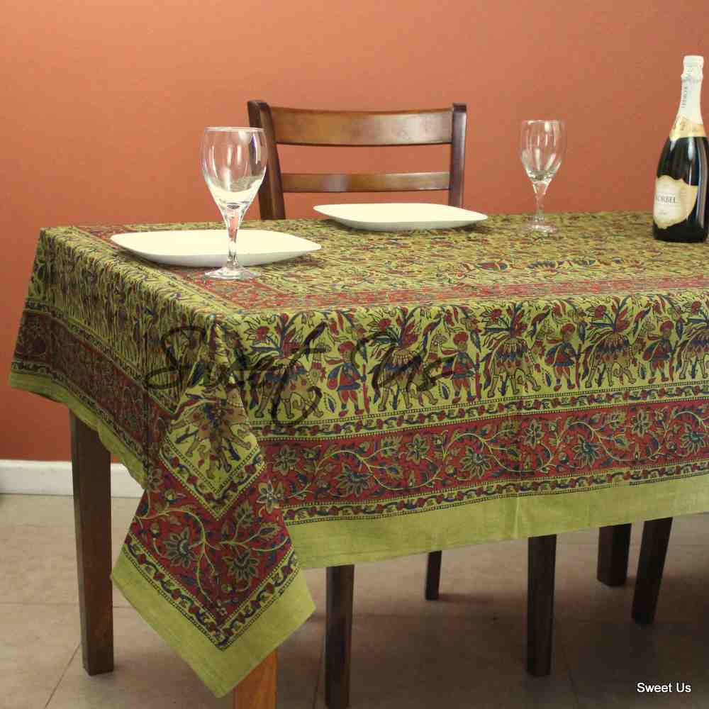 Cotton Block Print Floral Tablecloth Rectangle Olive Green White Dining Linen
