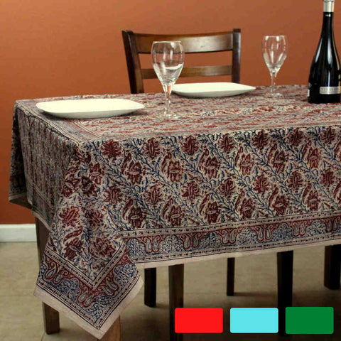 Cotton Vegetable Dye Hand Block Print Tablecloth Rectangle Red Green Blue