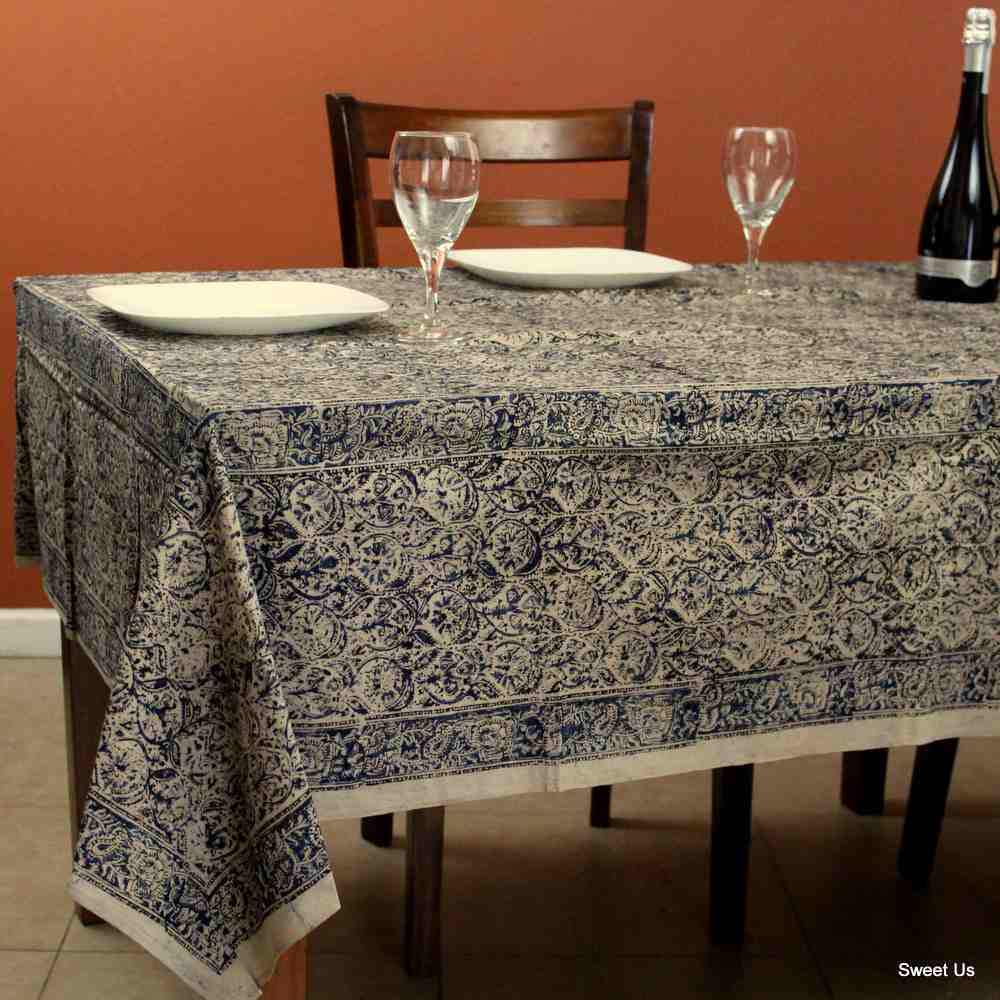 Cotton Vegetable Dye Hand Block Print Tablecloth Rectangle Red Blue Beige
