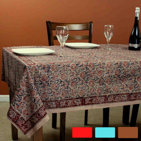 Cotton Vegetable Dye Hand Block Print Floral Tablecloth Rectangle Red Blue Beige