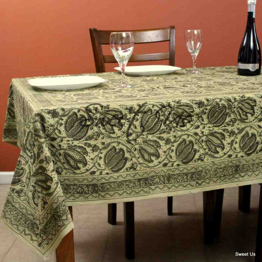 Cotton Vegetable Dye Hand Block Print Floral Tablecloth Rectangle Green Beige