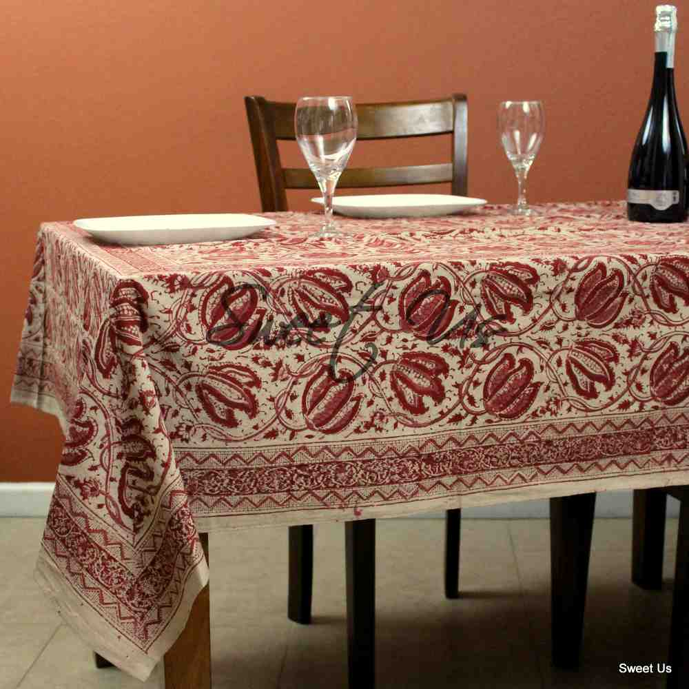 Cotton Vegetable Dye Hand Block Print Floral Tablecloth Rectangle Red Beige