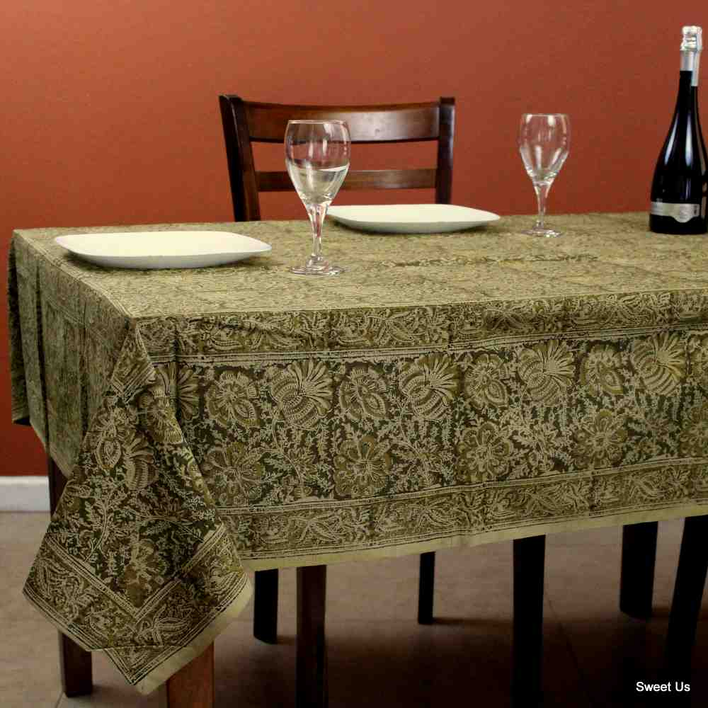 Cotton Vegetable Dye Hand Block Print Tablecloth Rectangle Green Gold Beige