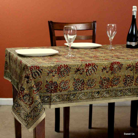 Cotton Vegetable Dye Hand Block Print Tablecloth Rectangle Red Gold Blue