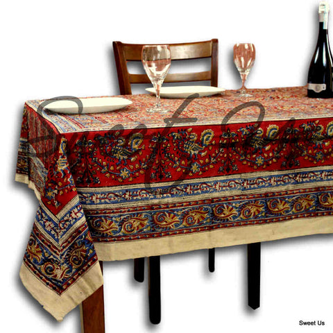 Cotton Vegetable Dye Hand Block Print Tablecloth Rectangle Red Gold Beige