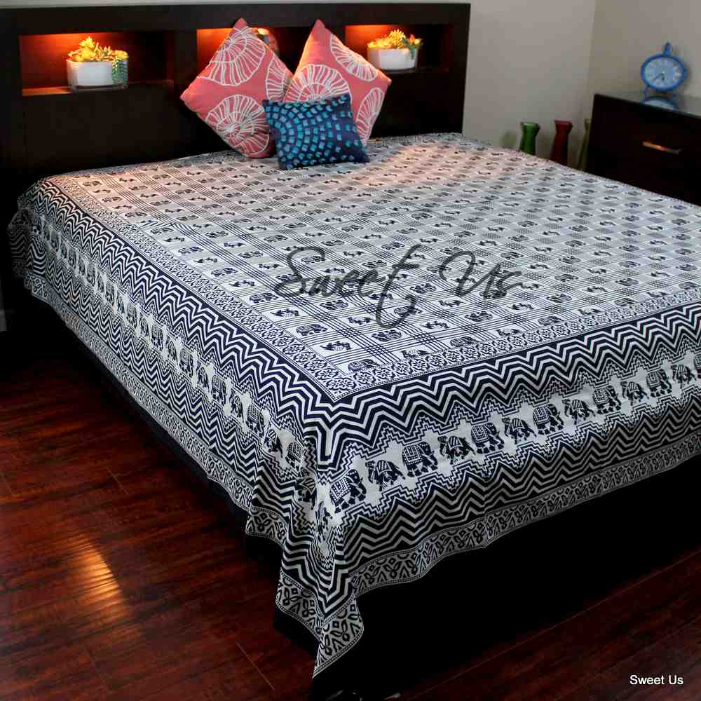 Cotton Elephant Geometric Floral Bedspread Bed sheet Queen Black White