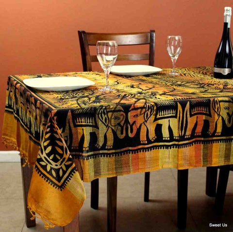 Cotton Elephant Print Floral Tablecloth Rectangle Yellow Black Gold Orange Fringe