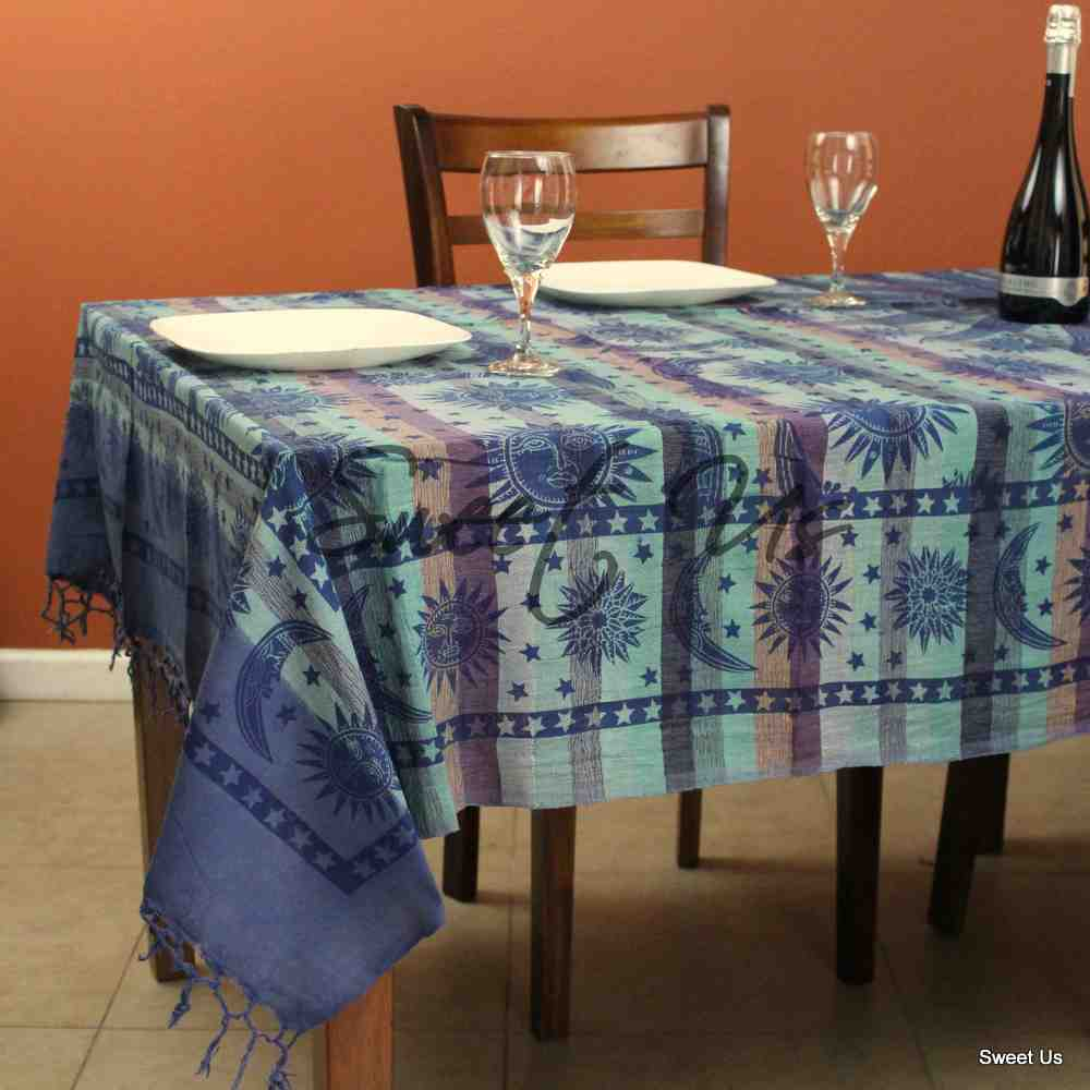 Cotton Celestial Overprint Tablecloth Rectangle 70x106 Blue Red Yellow Green