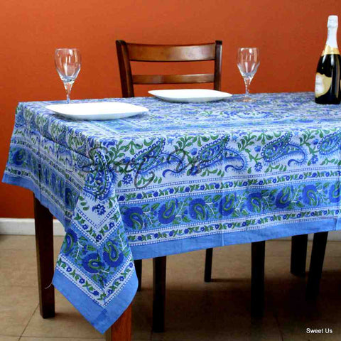 Cotton Paisley Floral Block Print Tablecloth Rectangle Blue Kitchen Dining Linen