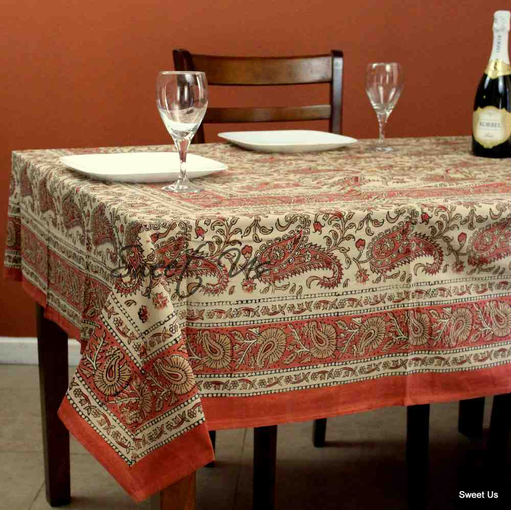 Cotton Paisley Floral Block Print Tablecloth Rectangle Pink Orange Dining Linen