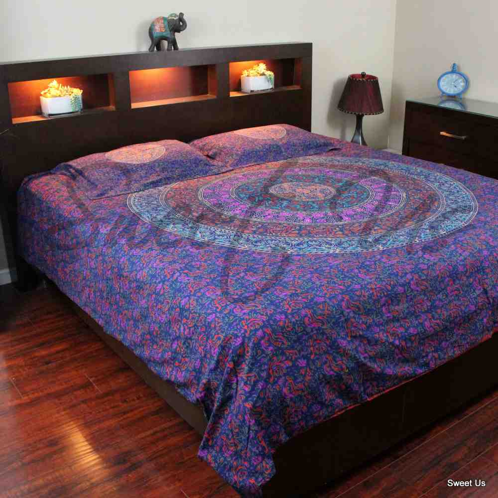 Reversible Block Print Cotton Mandala Floral Duvet Cover Full Queen Blue Red