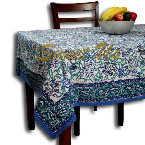 Block Print Paisley Tablecloth-Rectangle Square Round Table-Cotton Blue Green - Sweet Us