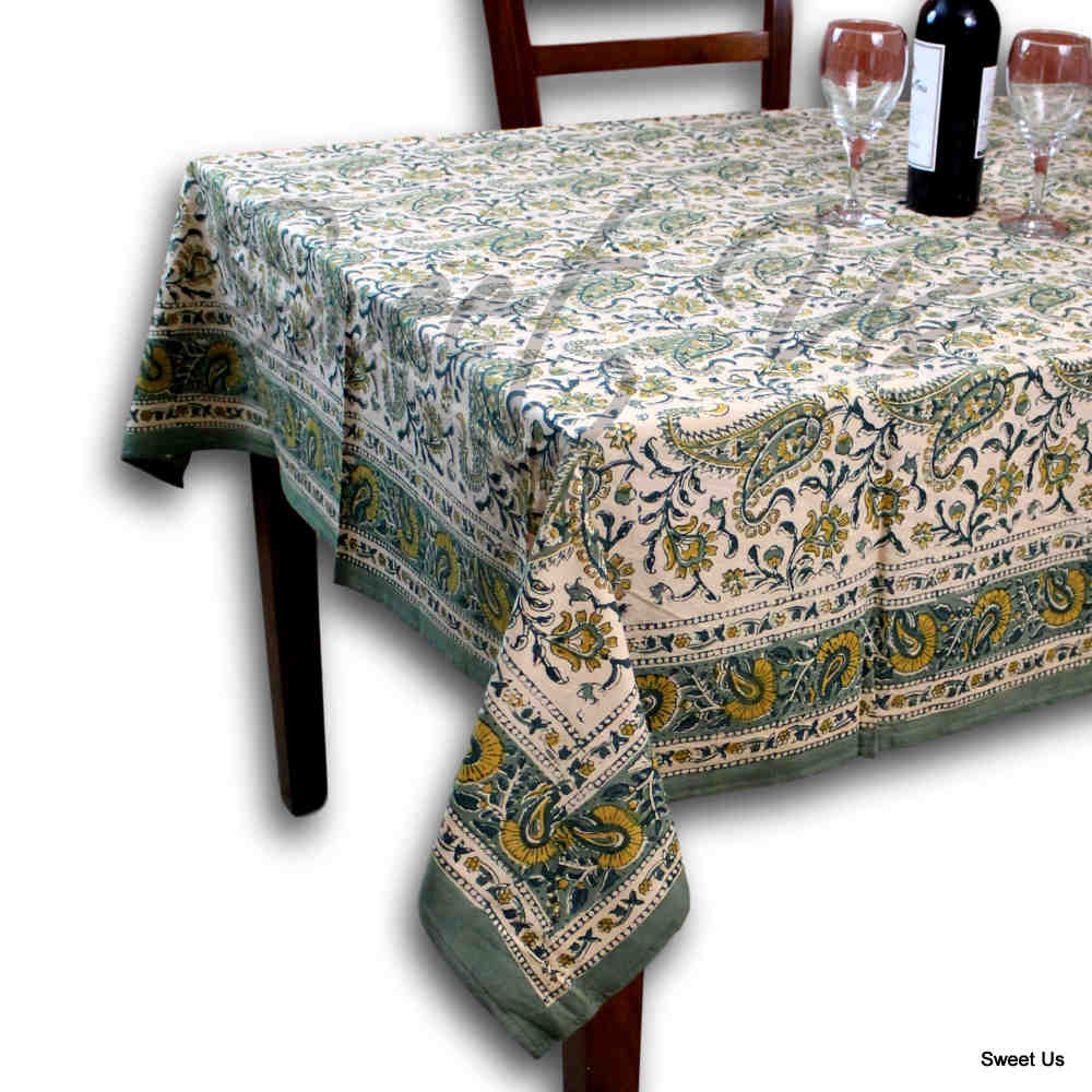 Cotton Rajasthan Paisley Floral Block Print Tablecloth Rectangle 70x104 Green