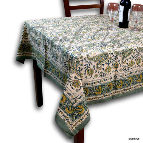 Cotton Paisley Floral Block Print Tablecloth Rectangle Green Bed sheet Twin Full