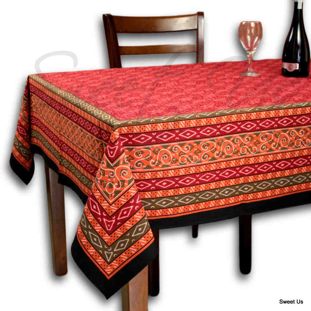 Calico Block Print Tablecloth for Dining, Kitchen Cotton Floral Table Linen Red - Sweet Us