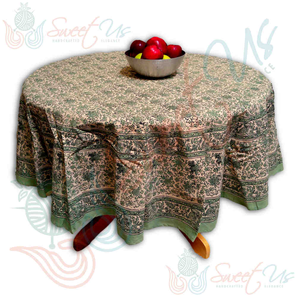 Block Print Tablecloth for Dining, Kitchen Cotton Floral Table Linen Collection - Sweet Us