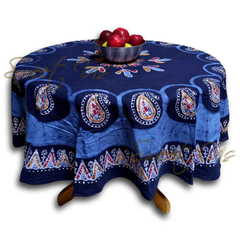 Cotton Multi Batik Paisley Floral Tablecloth Rectangle Round Square Linen Blue - Sweet Us