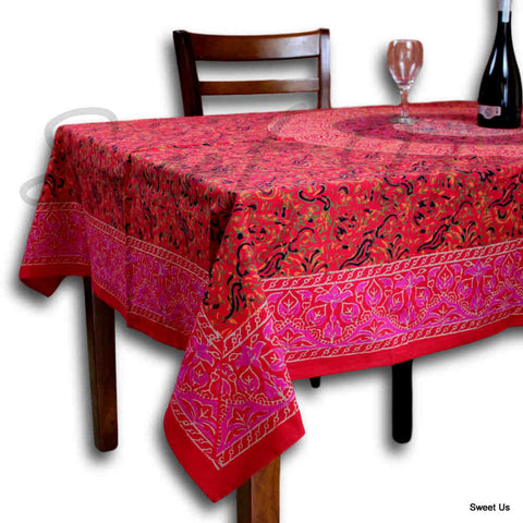 Block Print Tablecloth Rectangle Square Round Tables Floral Sanganer Cotton Red - Sweet Us