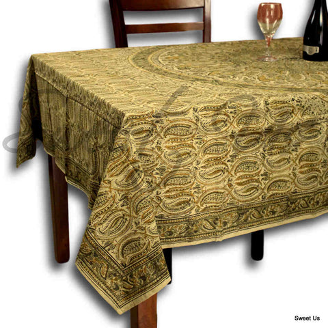 Vegetable Dye Hand Block Print Floral Cotton Round Tablecloth 60x90 60x60 Green - Sweet Us