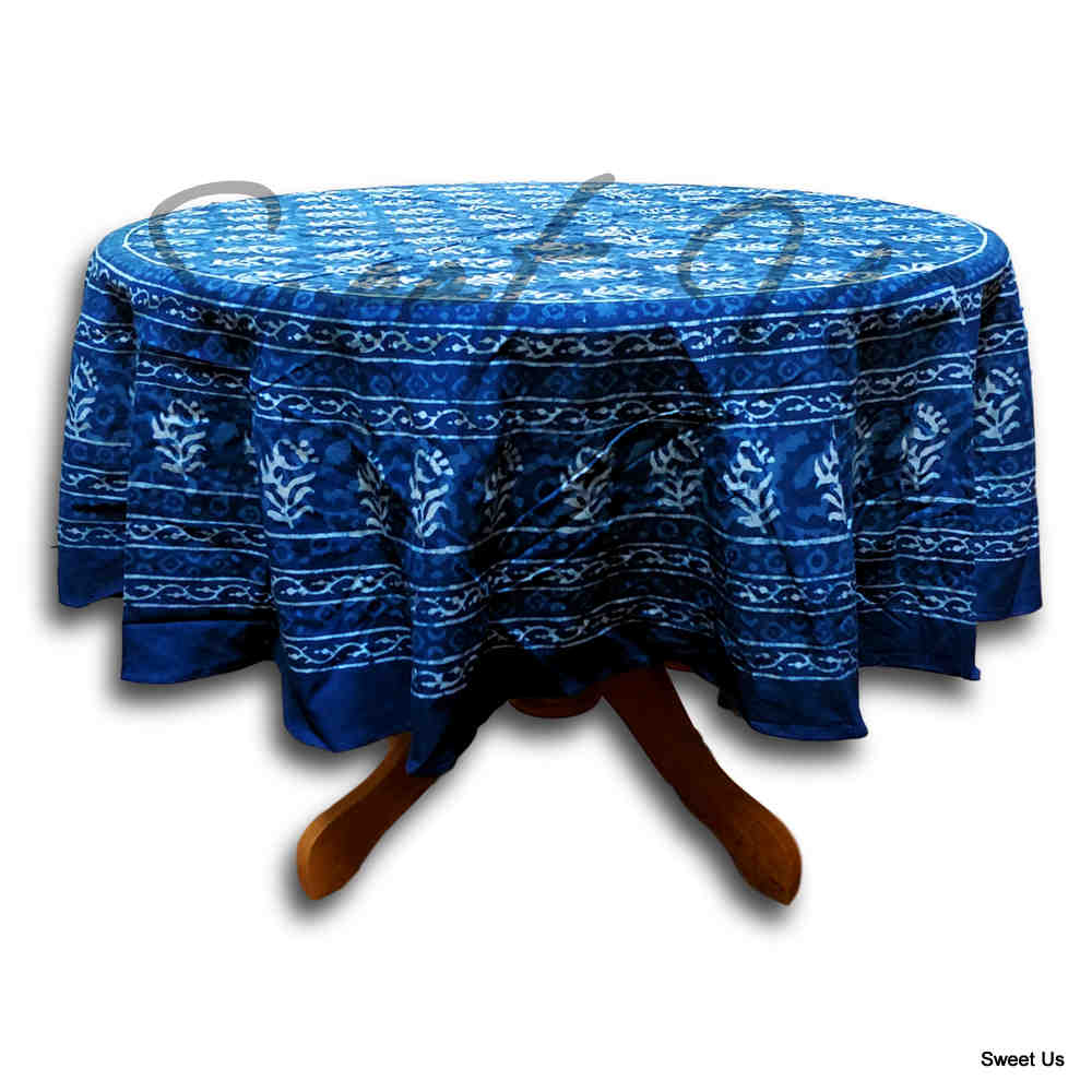 Block Print Tablecloth for Rectangle Square Round Tables Dabu Cotton Indigo Blue - Sweet Us