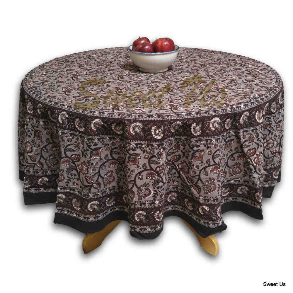 Floral Block Print Cotton Round Tablecloth Rectangle 60x90 Gray Brown Squ Linen - Sweet Us