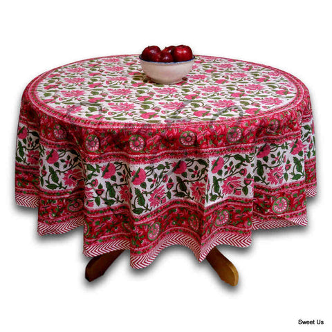 Floral Vine Block Print Tablecloth Rectangle Cotton, Red, Table Linen - Sweet Us