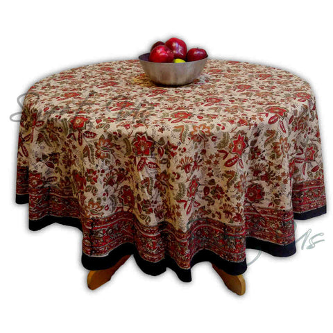 Floral Block Print Cotton Round Tablecloth Rectangle Square Beige Red Green - Sweet Us
