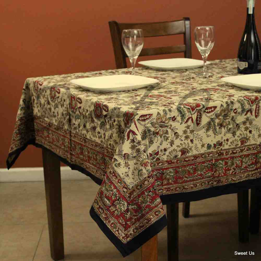 Floral Block Print Cotton Round Tablecloth Rectangle Square Beige Red Green