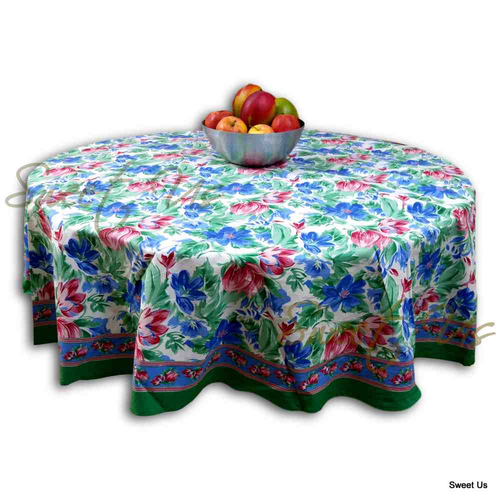 Floral Brush Stroke Print Cotton Tablecloth Rectangular Round Green Blue, Table Linen - Sweet Us