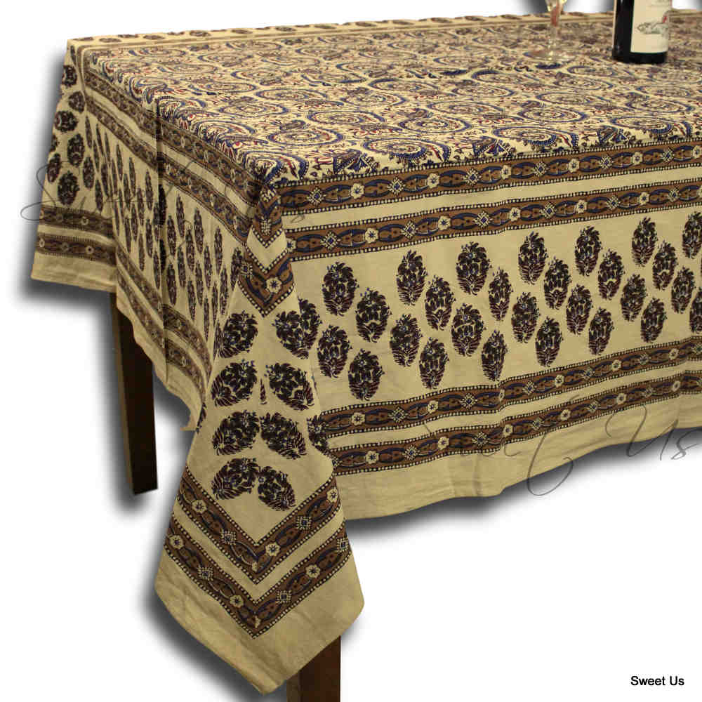 Hand Block Print Cotton Floral Tablecloth Round, Rectangular, Square Beige Gold - Sweet Us