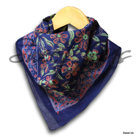 Large Cotton Block Print Floral Summer Scarf for Women Lightweight Soft Sheer - Sweet Us