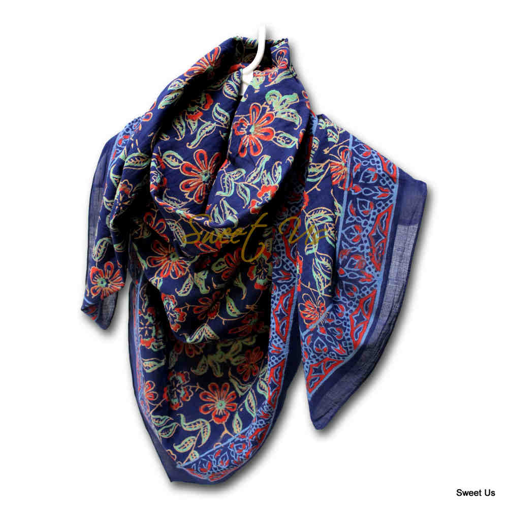 Large Cotton Block Print Floral Summer Scarf for Women Lightweight Soft Sheer
