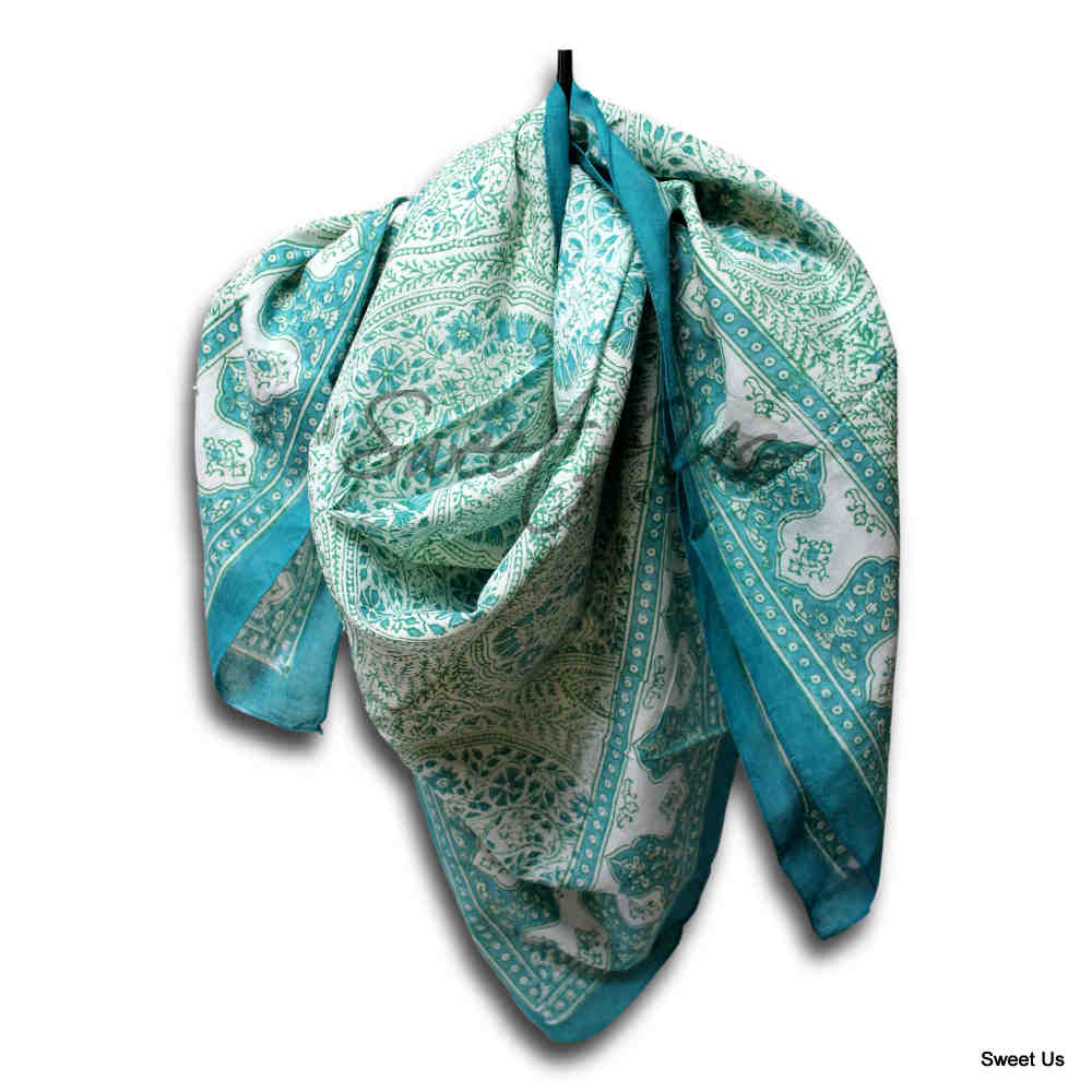 Scarf for Women Sheer Soft Cotton Paisley Floral Green Blue Tan Bandana