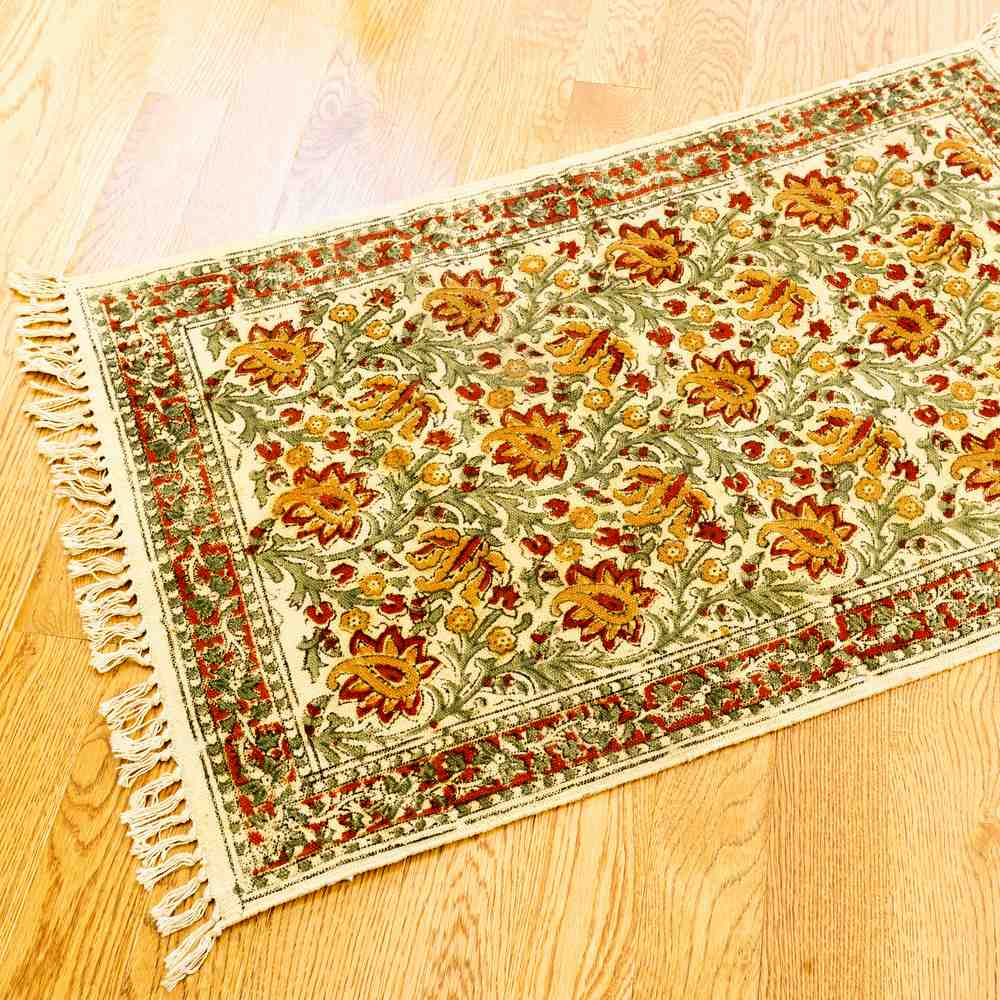 Hand Block Print Veggie Dye Bohemian Area Rugs Living Bedroom Chrysum Floral Rug - Sweet Us
