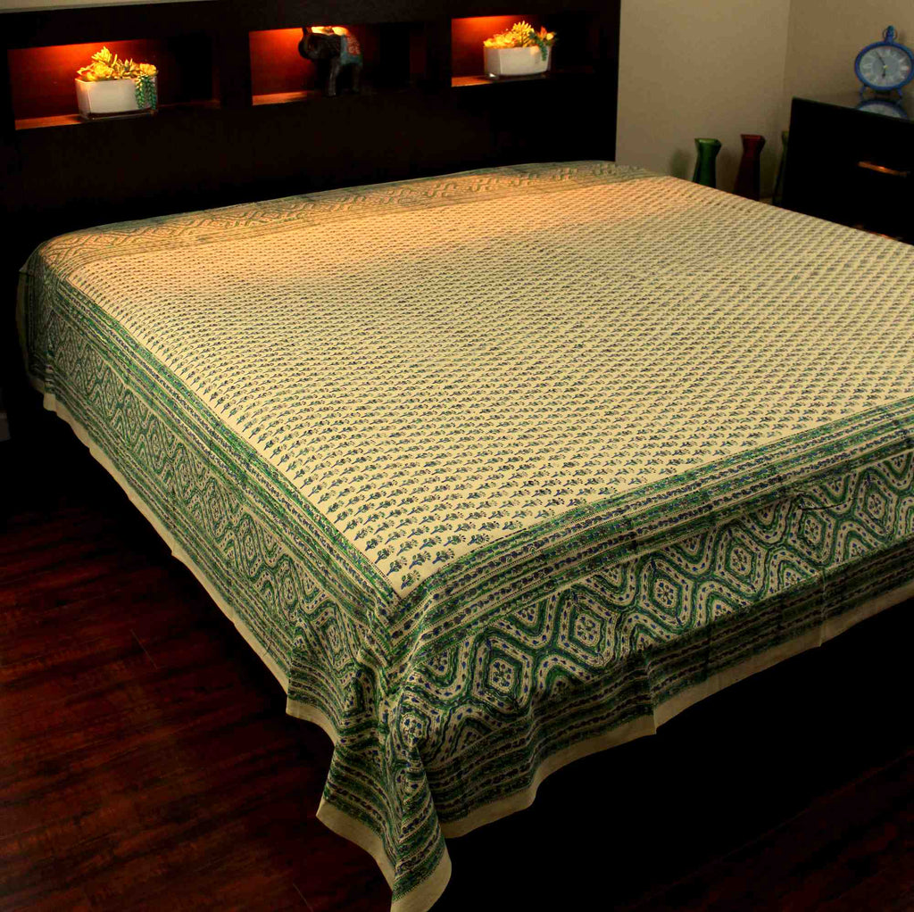 Block Print Tapestry Wall Hanging Cotton Floral Tablecloth Spread Green Twin Full