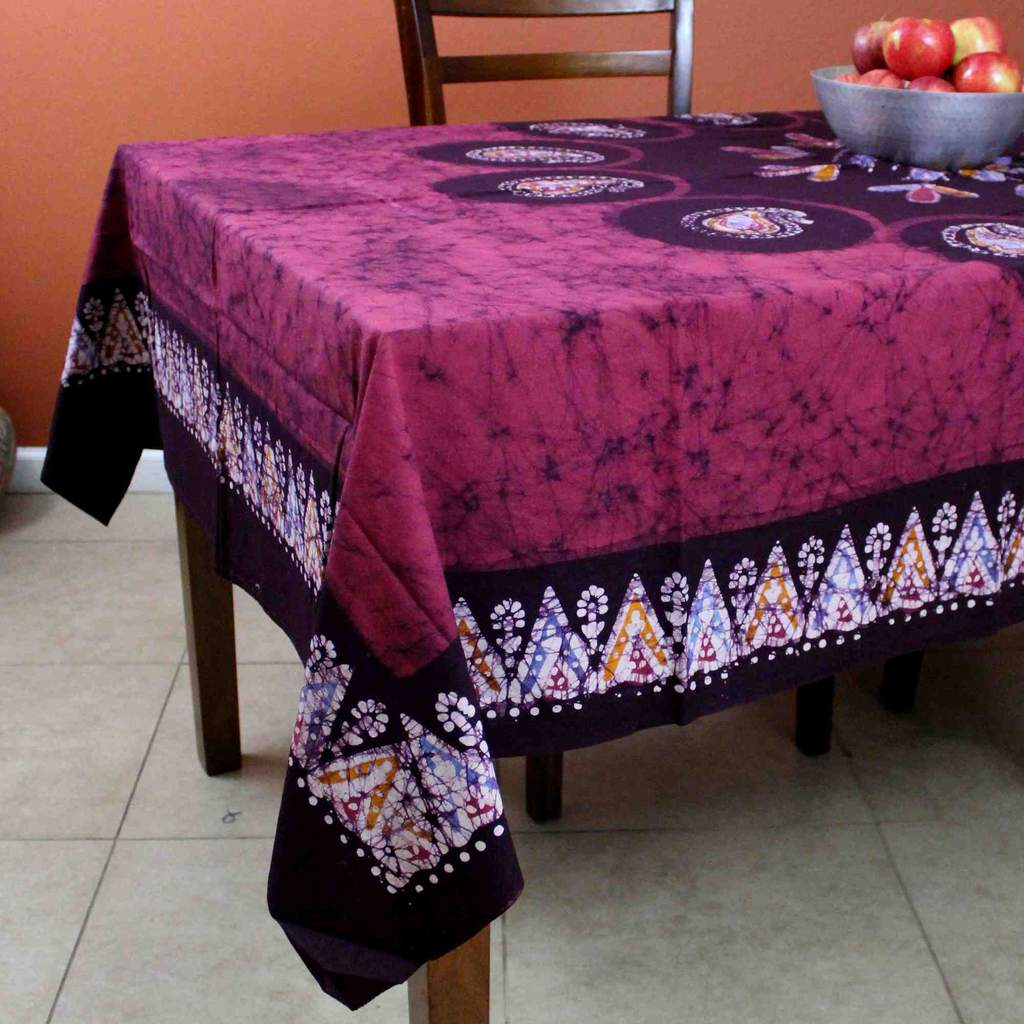 Multi Batik Paisley Floral Tablecloth Rectangular Cotton 60x90 Green Red Purple