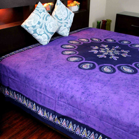 Multi Batik Cotton Paisley Floral Tapestry Wall Hanging Bedspread Purple Twin - Sweet Us