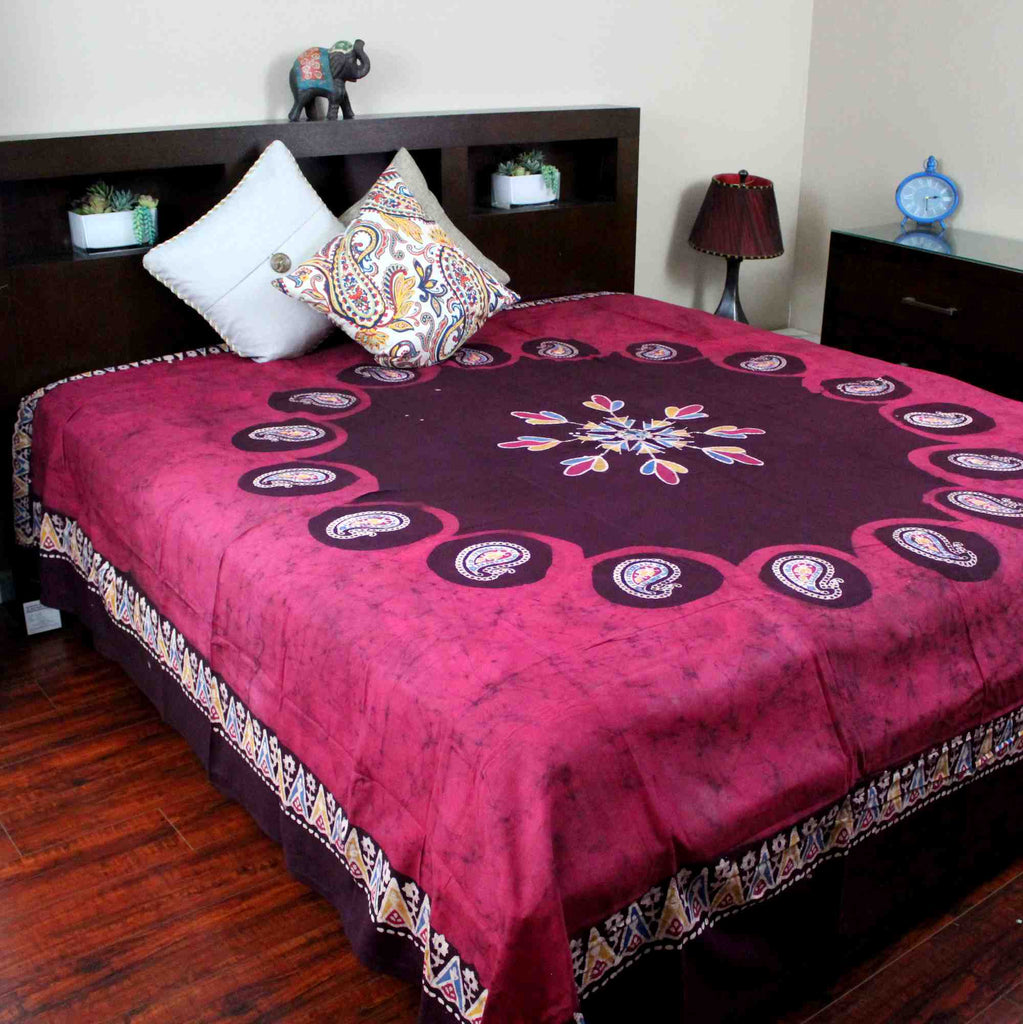 Cotton Multi Batik Print Paisley Floral Tapestry Bedspread Beach Sheet Queen Red - Sweet Us