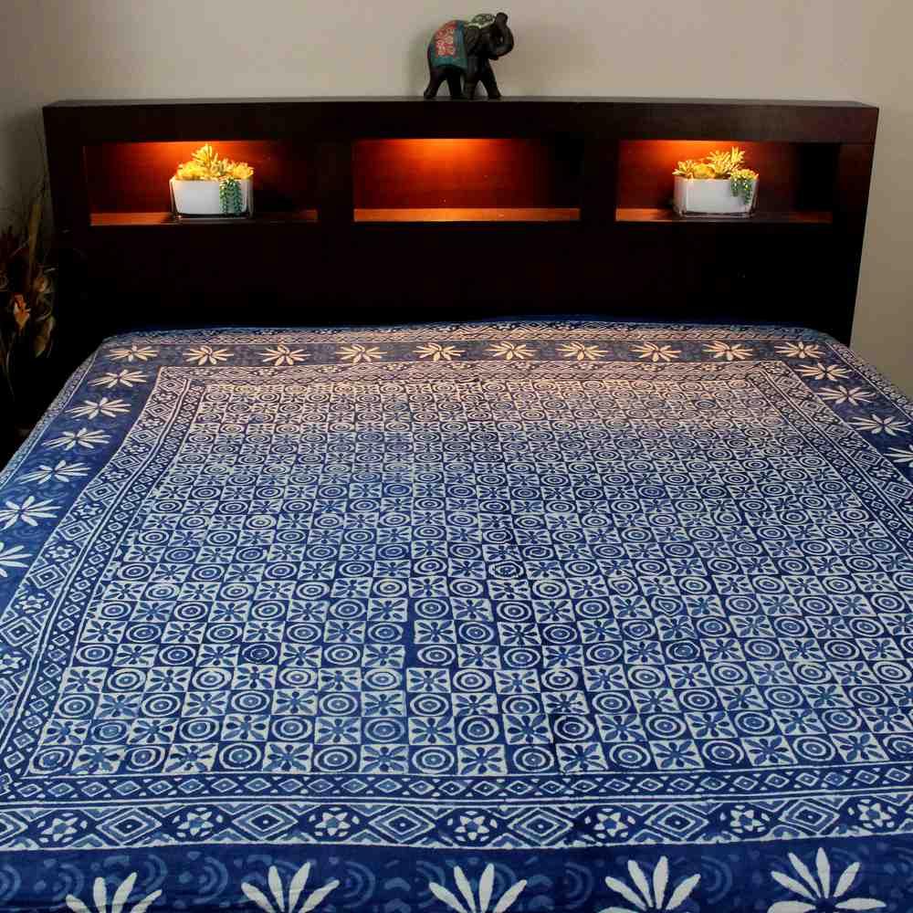 Cotton Hand Block Print Floral Tapestry Wall Hang Bedspread Queen Indigo Blue