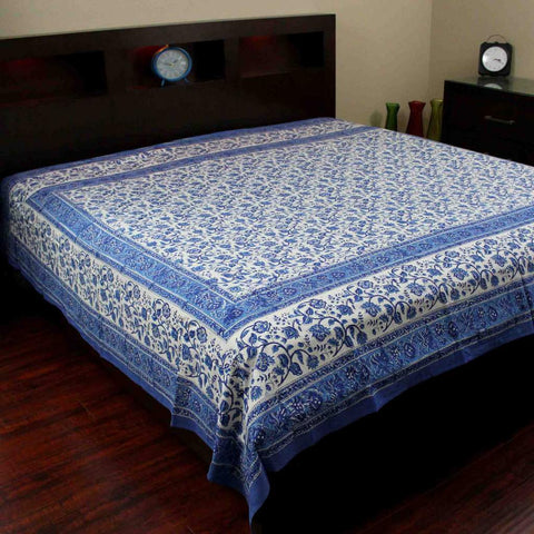 Handmade Cotton Rajasthan Block Print Tapestry Throw Tablecloth Coverlet Twin Full - Sweet Us