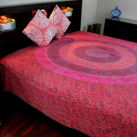 Cotton Sanganer Floral Mandala Tapestry Wall Hanging Bedspread Twin Queen Red