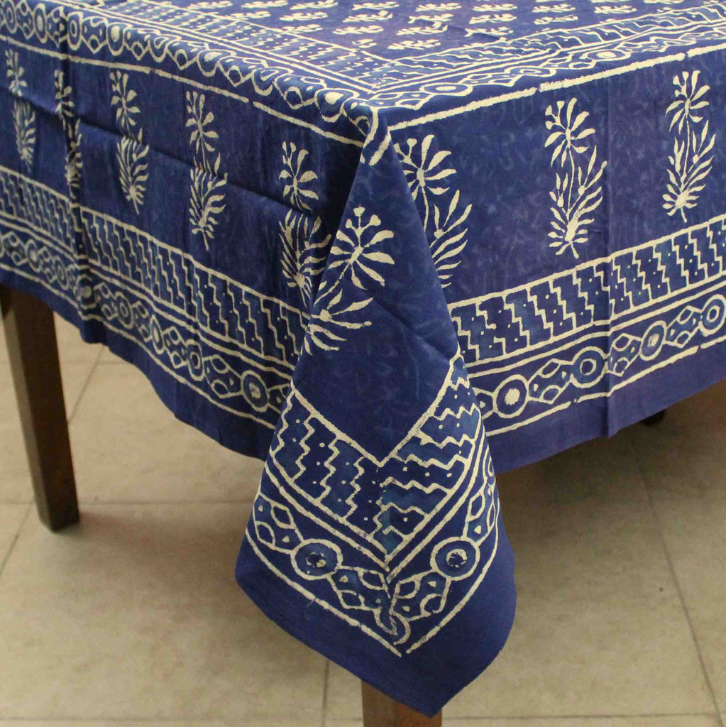 Block Print Cotton Floral Tablecloth Rectangle 60x90 Blue, Green, Red - Sweet Us