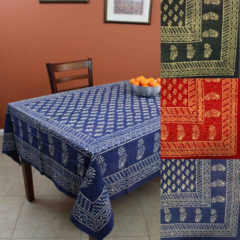 Handmade Dabu Hand Block Print Cotton Rectangular Tablecloth 60 x 90 inches Blue Green Red Kitchen Table Linen - Sweet Us
